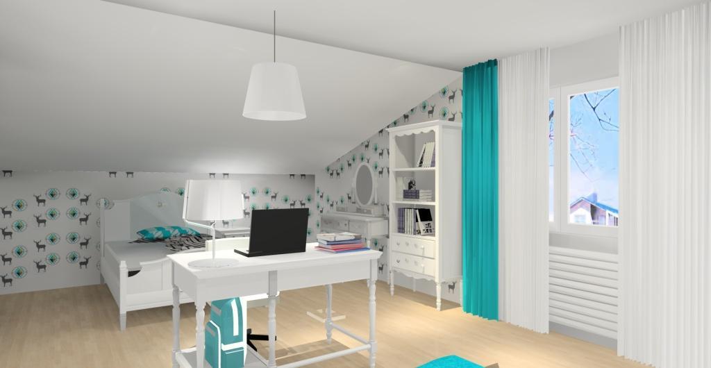 Projekt pokoju dla dziewczynki, styl glamour, konsola glamour, regał glamour