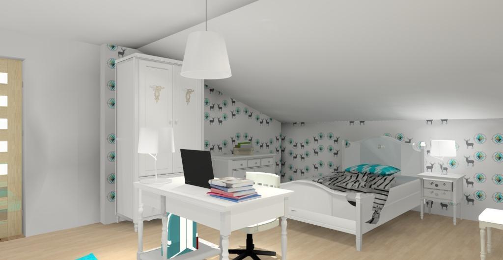 Projekt pokoju dla dziewczynki w stylu glamou, szafa glamour, biały, szary, turkusowy