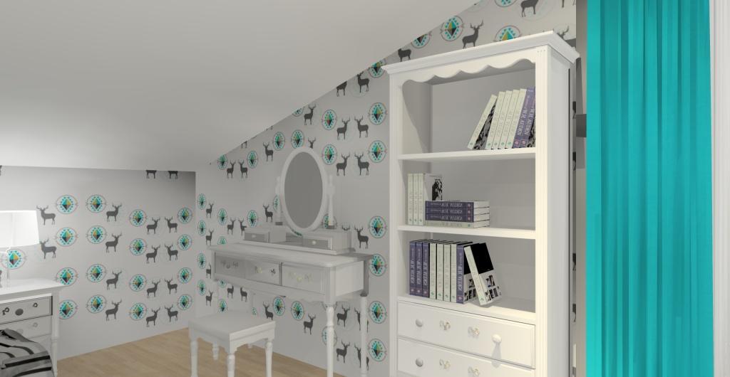 projekt pokoju dla dziecka na poddaszu, styl glamour, tapeta z jeleniami, biała, szara, turkusowa