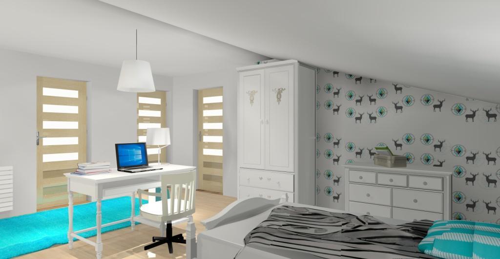 pokój dla dziewczynki glamour, projekt pokoju dziecka w kolrze biały, turkus