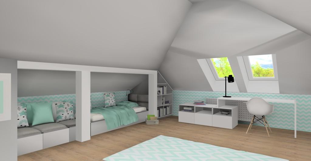 projekt pokoju dla dziecka na poddaszu, biały, miętowy