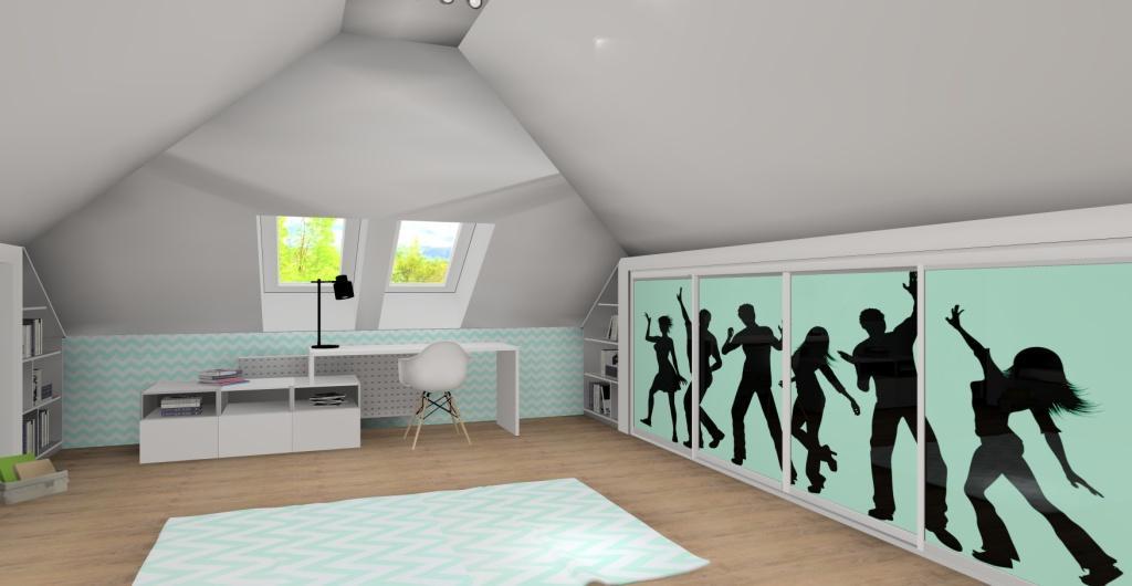 Pokój ze skosami dla dziewczynki, nowoczesny pokój dla dziecka, biały, miętowy