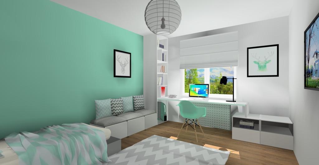 projekt pokoju dla nastolatki, dziewczyny, styl skandynawski, biały, szary, meiętowy
