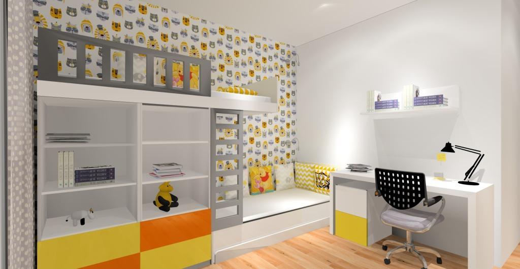 projektowanie pokoju dziecka, pokój dziecka, biały, żółty pomarańczowy, nowoczesny pokój