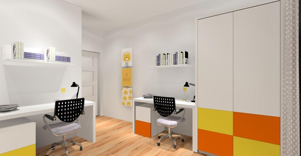 Projektowanie pokoju dla dziecka, nowoczesny pokój dla dziecka, pokój w kolorze biały, pomarańczowy, zółty