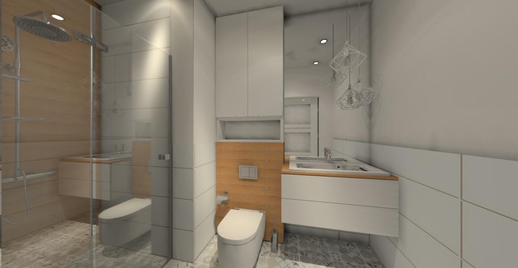 projekt łazienki w stylu skandynawskim, biały, szary drewno