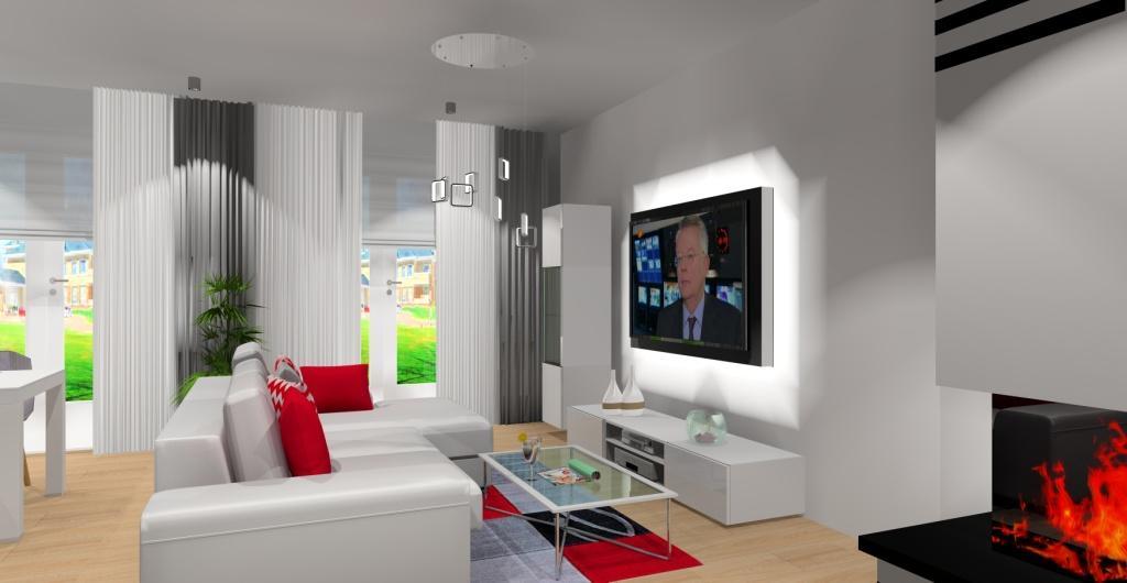 Salon w stylu nowoczesnym, projekt salonu w kolorze białym, szarym nowoczesny