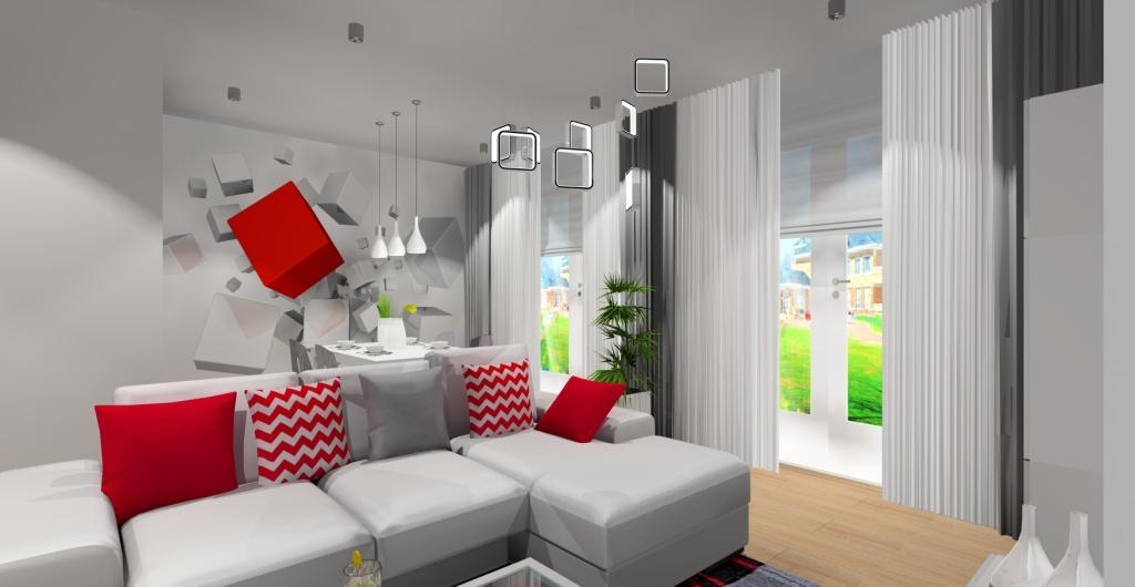 Nowoczesny salon w kolorze szary, salon biały z dodatkami czerwonymi