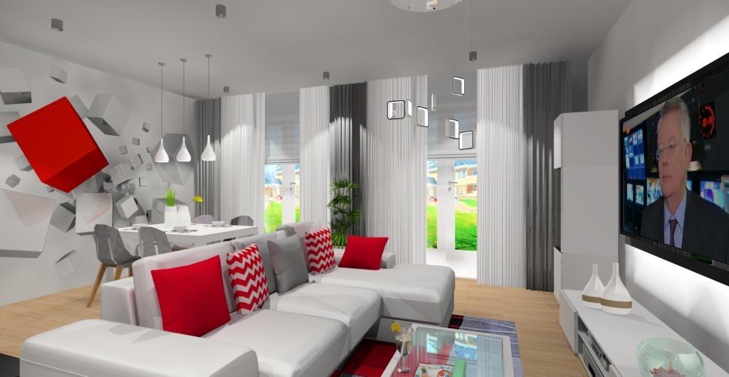 Projekty salonu w stylu nowoczesnym, tapeta w salonie kwadraty