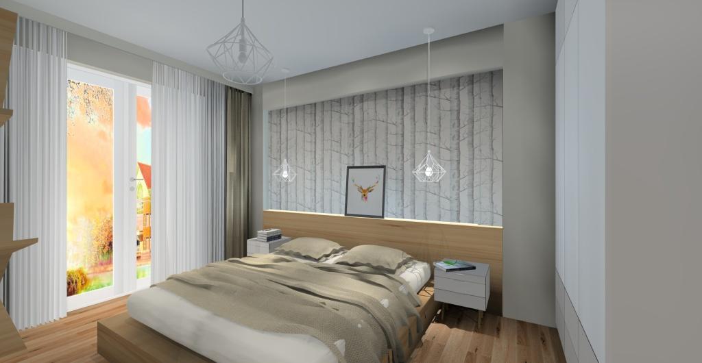 sypialnia biała z drewnem, styl skandynawski, projekt, aranżacja