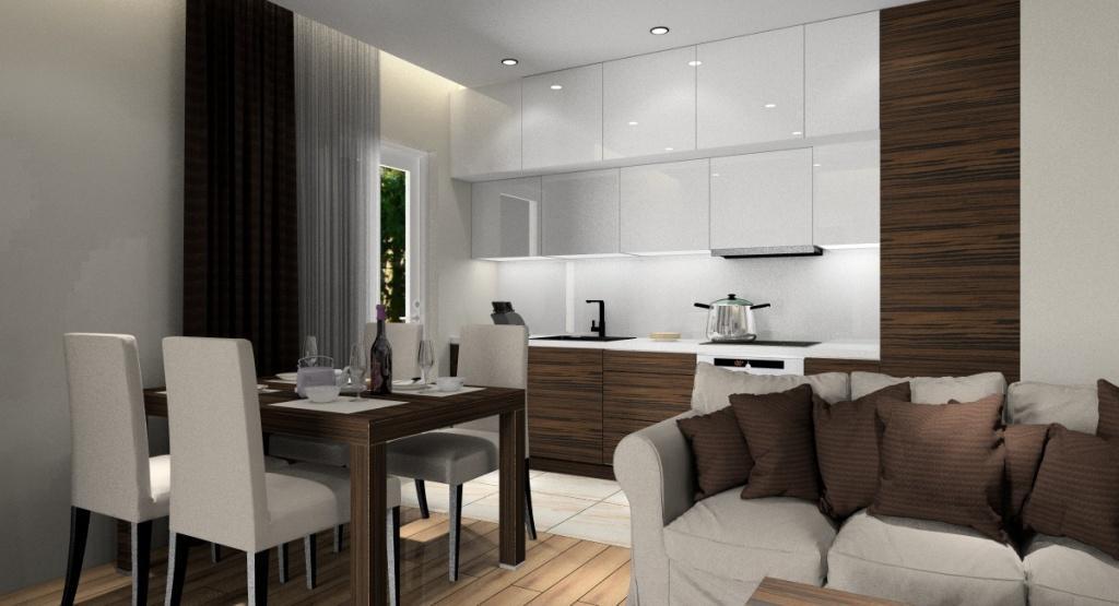 Małe Mieszkanie 40 M2 Aranżacja Wnętrz Beż Ciemne Drewno