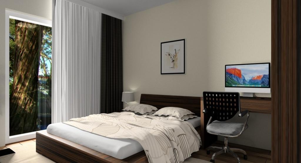 Małe mieszkanie 40 m2: aranżacja wnętrza, sypialnia, miejsce do pracy, duża szafa