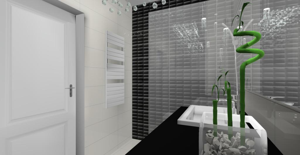 Projekt łazienki w stylu glamour, nowoczesnym, mała łazienka