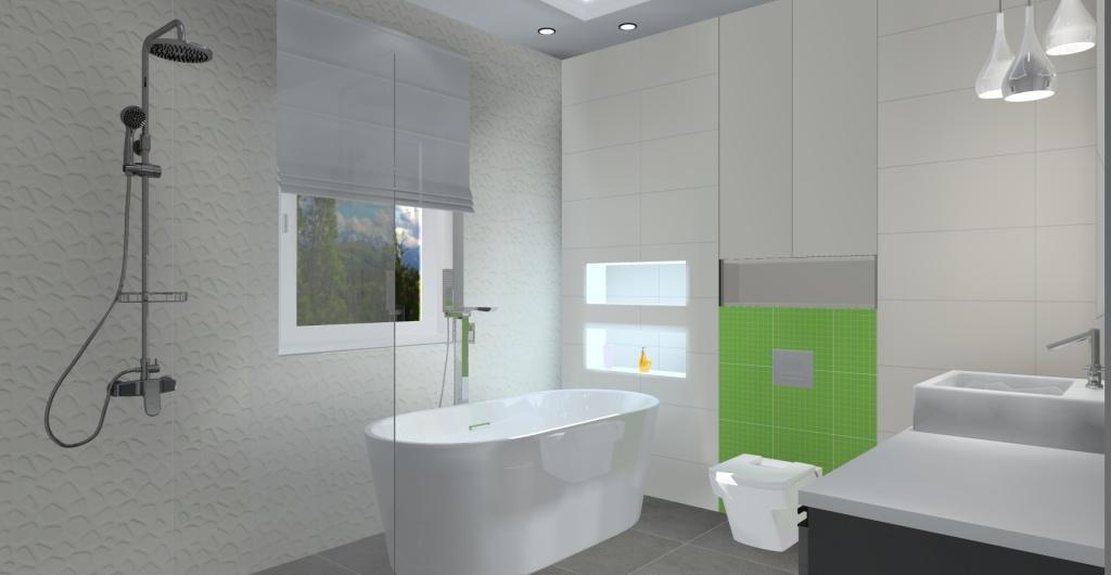 Łazienka w stylu nowoczesnym, łazienka w kolorze biały i szarym