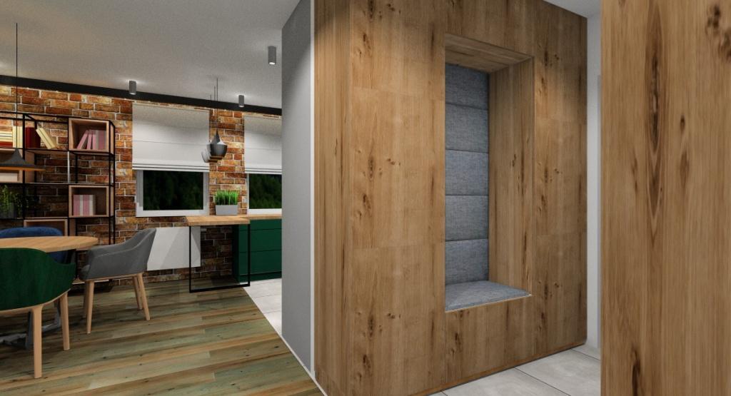 Salon, kuchnia, przedpokój, szafa w przedpokoju, drewno, czerń, zieleń, szarośc
