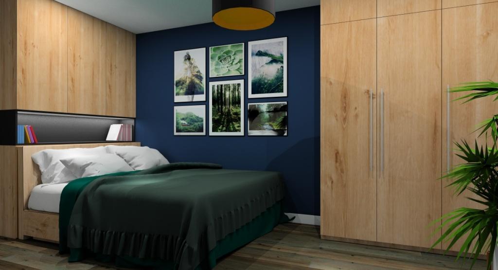 Sypialnia : aranżacja w kolorach butelkowa zieleń, granatowy, drewno