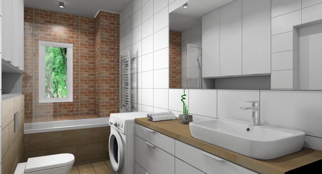 Aranżacja łazienki: biały, drewno, cegła
