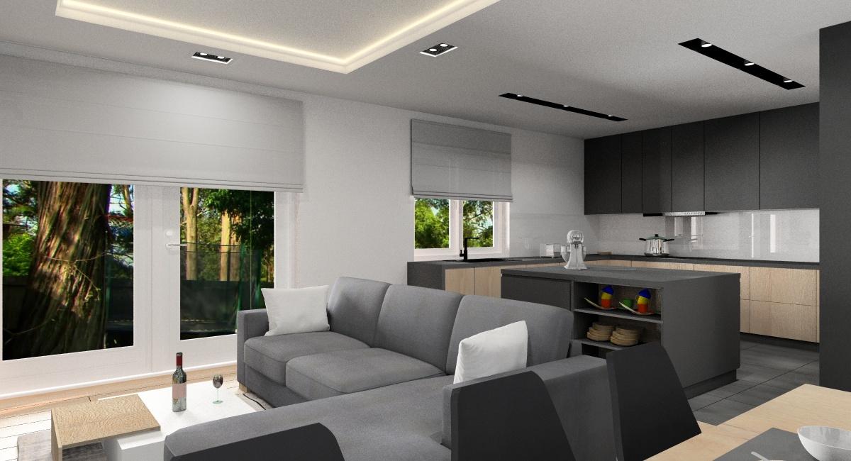 Aranżacja nowoczesnego salonu z kuchnią: projekt wnętrza, zdjęcia