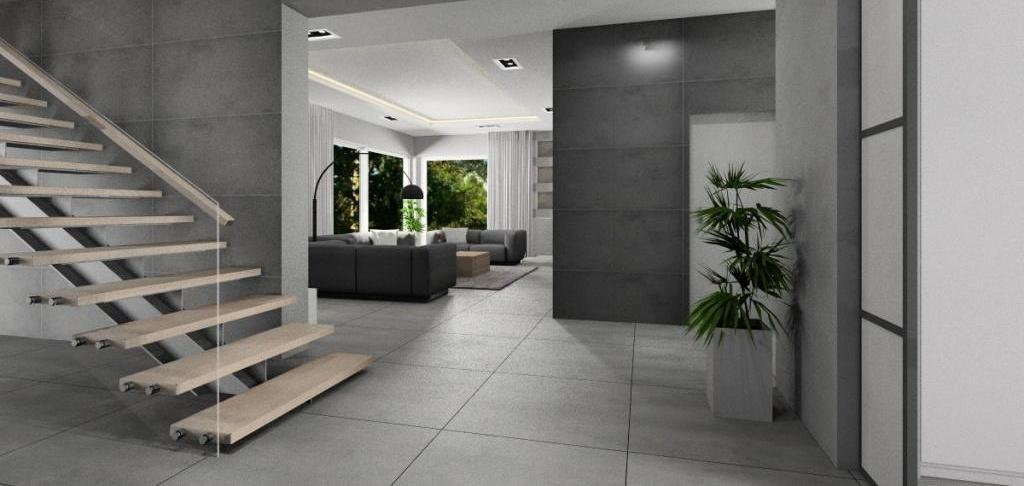 Projekt holu, przedpokoju, aranżacja w stylu nowoczesnym, wnętrze w kolorze biały, szarym dodatek drewna, schody drewniane