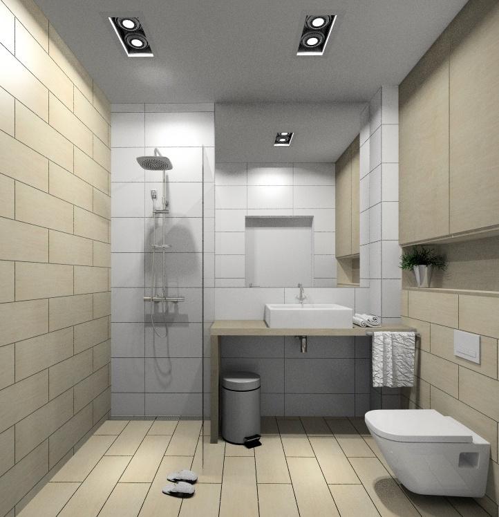 Projekt łazienki, aranżacja wnętrza w stylu nowoczesnym, łazienka z prysznicem
