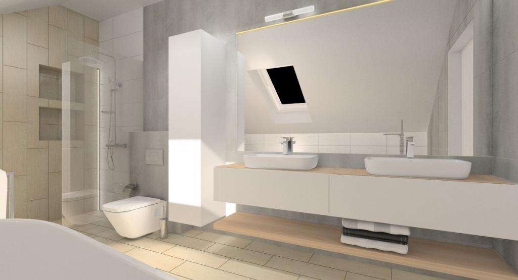 Projekt łazienki, aranżacja w stylu nowoczesnym, łazienka z wanną wolnostojącą i prysznicem