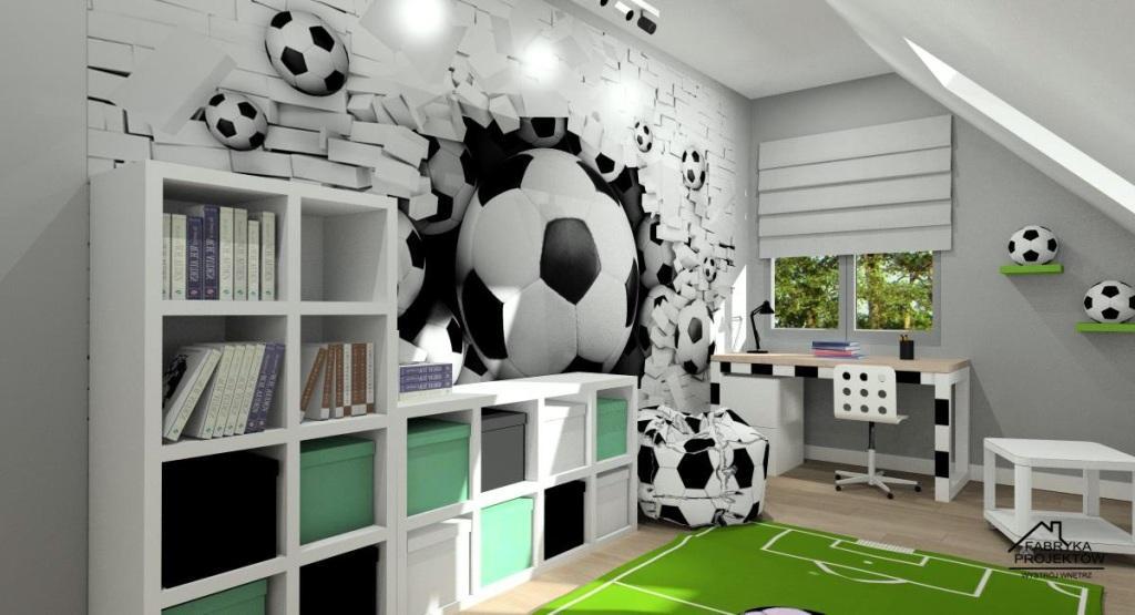 Meble w pokoju piłkarskim dla chłopca, łóżko w kształcie bramki, biurko w stylu piłkarskiej bramki, pufy piłkarskie, piłka nożna