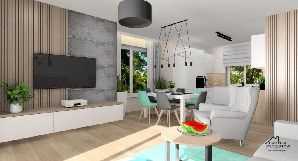 Nowocześnie urządzony salon z kuchnią i jadalnią, Aranżacja ściany RTV, beton i drewniane lamele