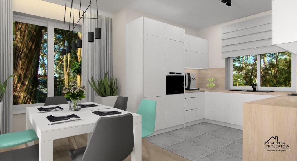 Nowoczesny salon z kuchnią i jadalnią – aranżacja wnętrza: biały, szary, beż