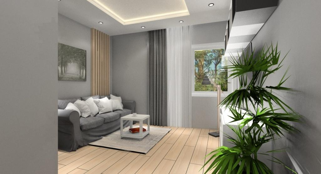 Projekt pokoju gościnnego, aranżacja nowoczesna, sofa, stoli kawowy IKEA, dywan szary