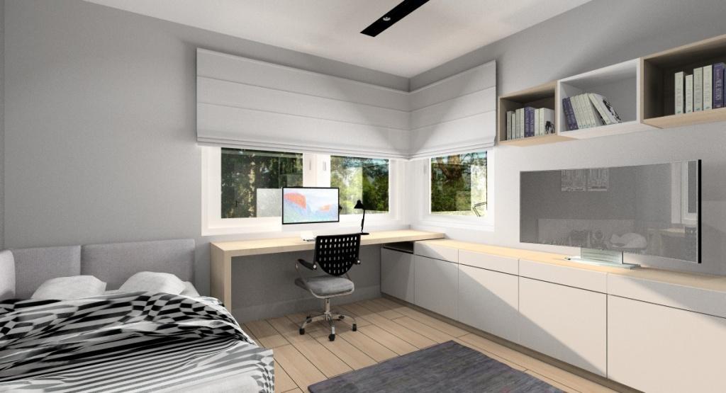 Projekt pokoju młodzieżowego dla chłopca, aranżacja wnętrza w stylu nowoczesnym, biurko pod oknem