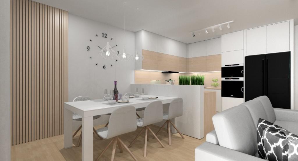 Pomysł na jadalnie, stół połączony z barkiem w kuchni