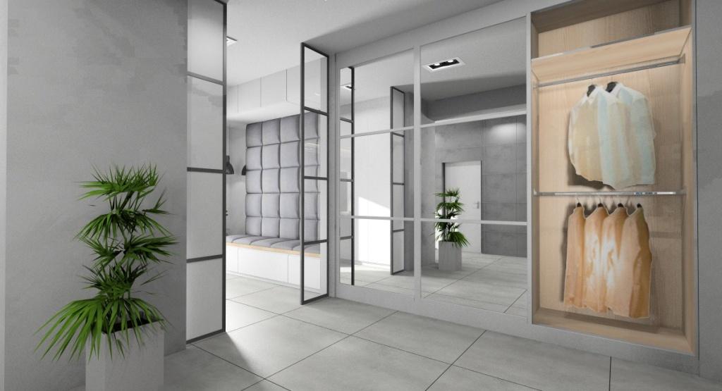 Projekt holu, przedpokoju w stylu nowoczesnym, wnętrze w kolorze biały, szary, drewno