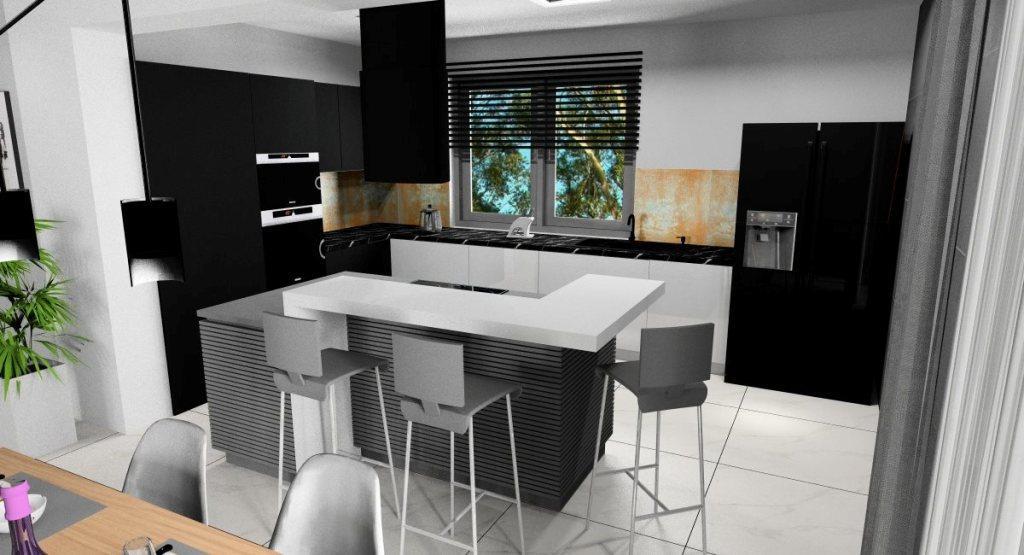 Projekt nowoczesnego wnętrza salonu z kuchnią i jadalnią, wyspa kuchenna z barkiem, Białe i czarne meble, biała podłoga, beton na ścianie