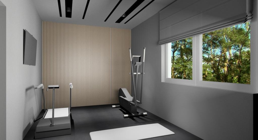 Projekt siłowni, sufit podwieszany, oświetlenie liniowe