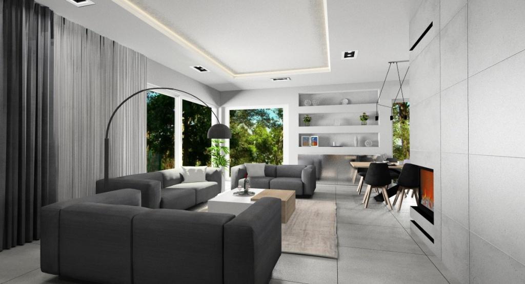 Salon, kuchnia i jadalnia, projekt nowoczesnego wnętrza, sufit podwieszany w całym wnętrzu, pólki w ścianie, nowoczesny kominek, trzy sofy w salonie