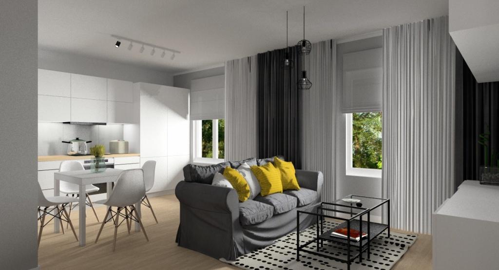 Salon z aneksem kuchennym w małym mieszkaniu