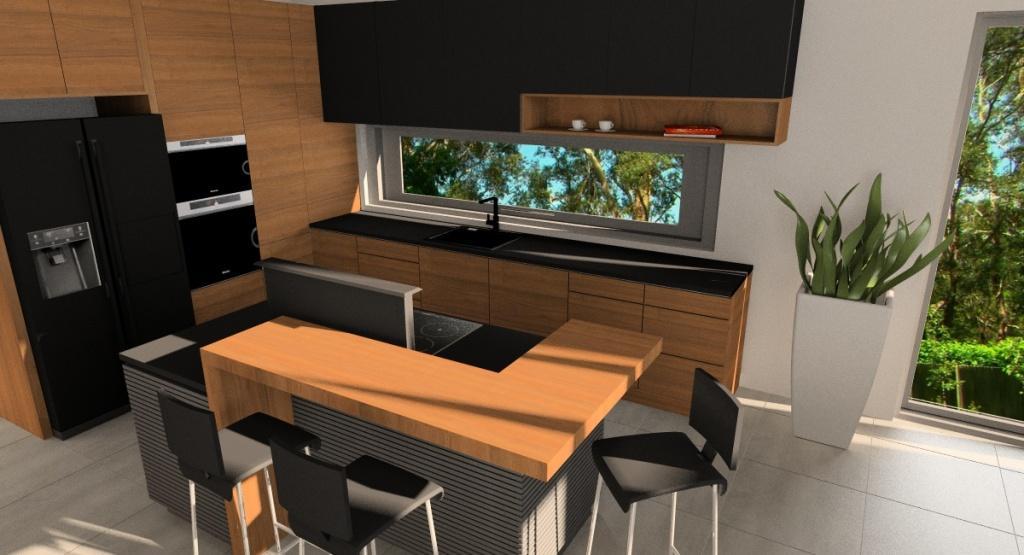 Salon z kuchnią i jadalnia, wyspa w kuchni oddzielająca salon od kuchni, biel, szary, czarny i drewno