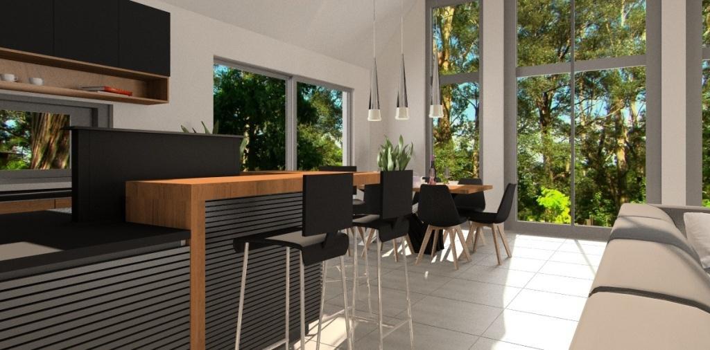 Salon z kuchnią i jadalnia: biel, szary, czarny i drewno