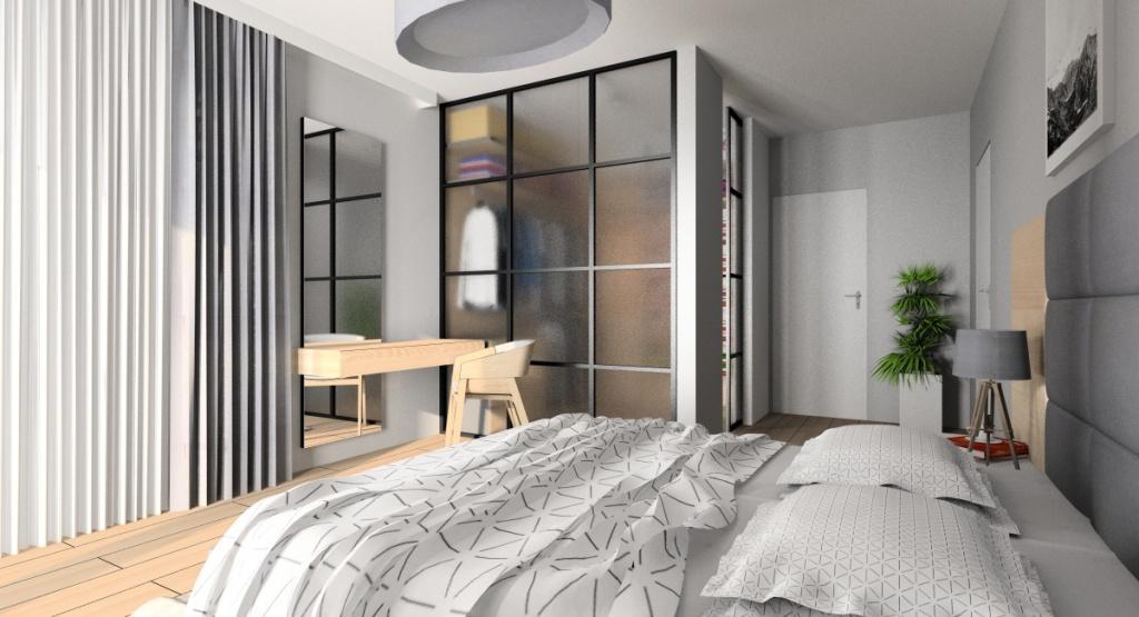 Sypialnia: projekt wnętrza, styl nowoczesny, duże łózko, drewno na ścianie, toaletka, garderoba w sypialni, sciana przeszklona