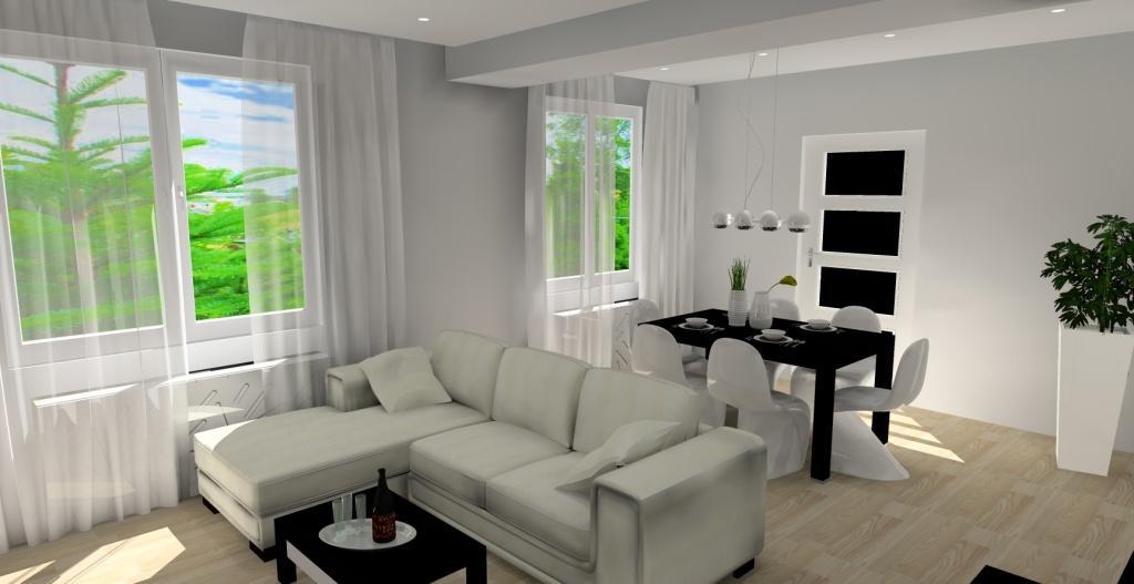 projekt salonu z jadalnią w stylu nowoczesnym salon biały, szary, czarny