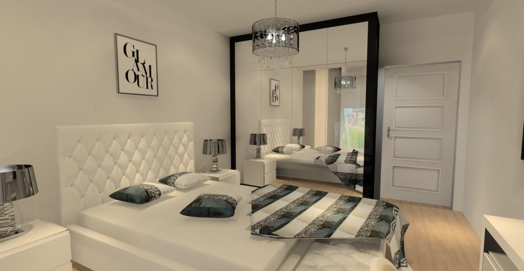 aranżacja sypialni glamour, szafa drzwi lustra