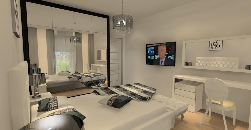 projekt sypialni w stylu glamour, projektowanie wnętrz