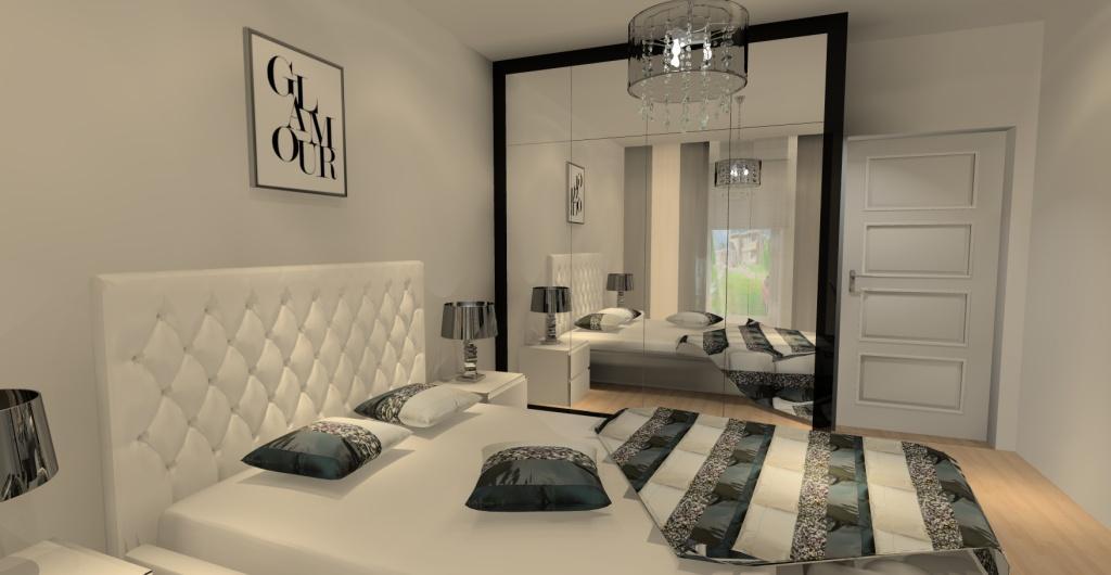 Sypialnia w stylu glamour, sypialnia biała i czarna