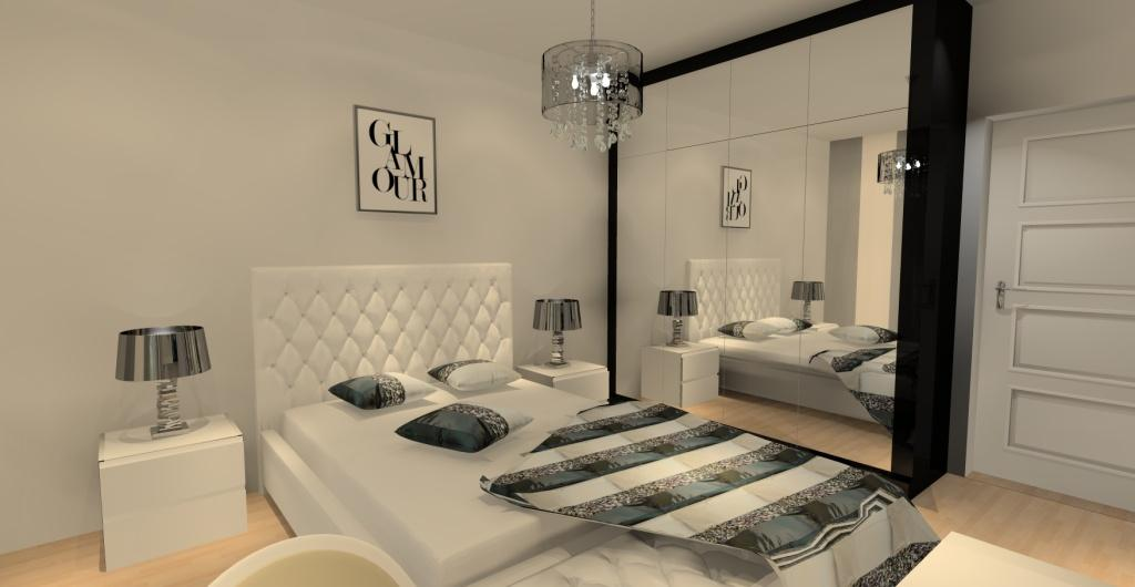 Sypialnia w kolorze białym i czarnym, projekt sypialni, projektowanie wnętrz
