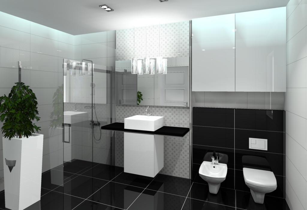 łazienka, styl nowoczesny, biały, czarny