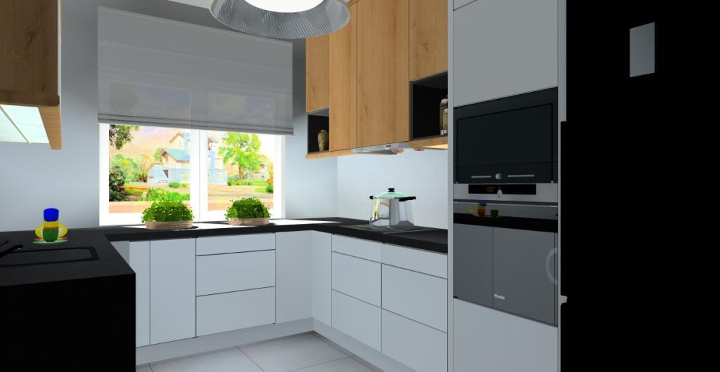projekt nowoczesnej kuchni, kuchnia biała z drewnem, blat kamień