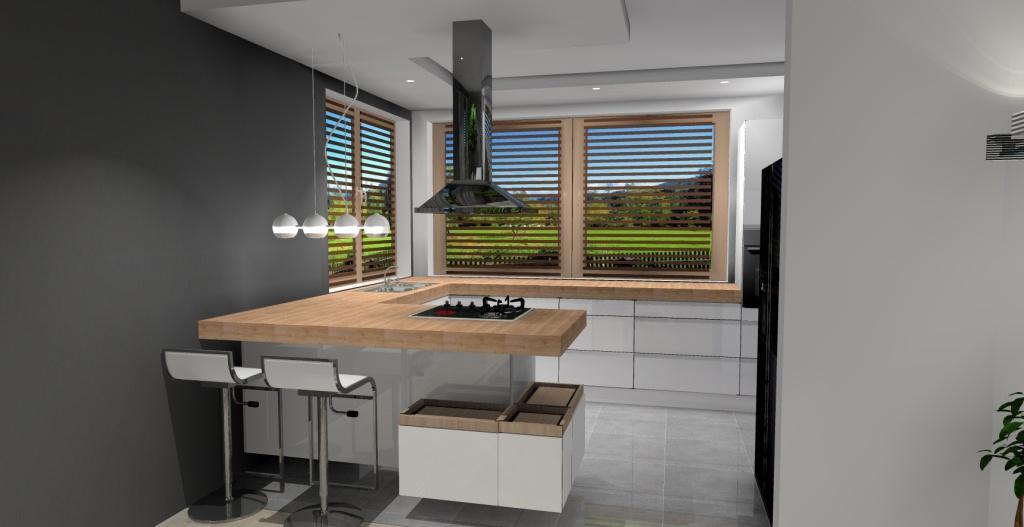 Meble na wymiar w kuchni, biała kuchnia, drewnane blaty, wyspa w kuchni