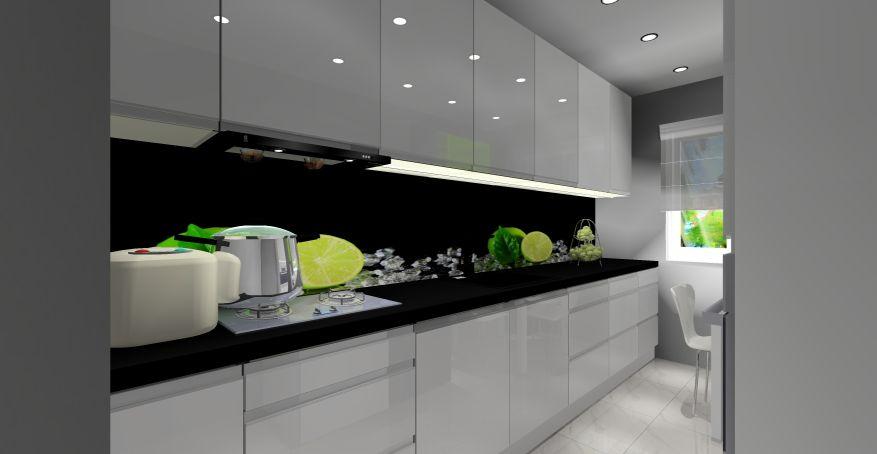 Mała kuchnia, nowoczesne wnętrze, projekt kuchni małej
