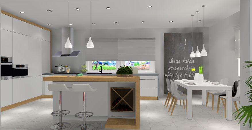 wyspa w kuchni, nowoczesne wnętrze, kuchnia biała z drewnem