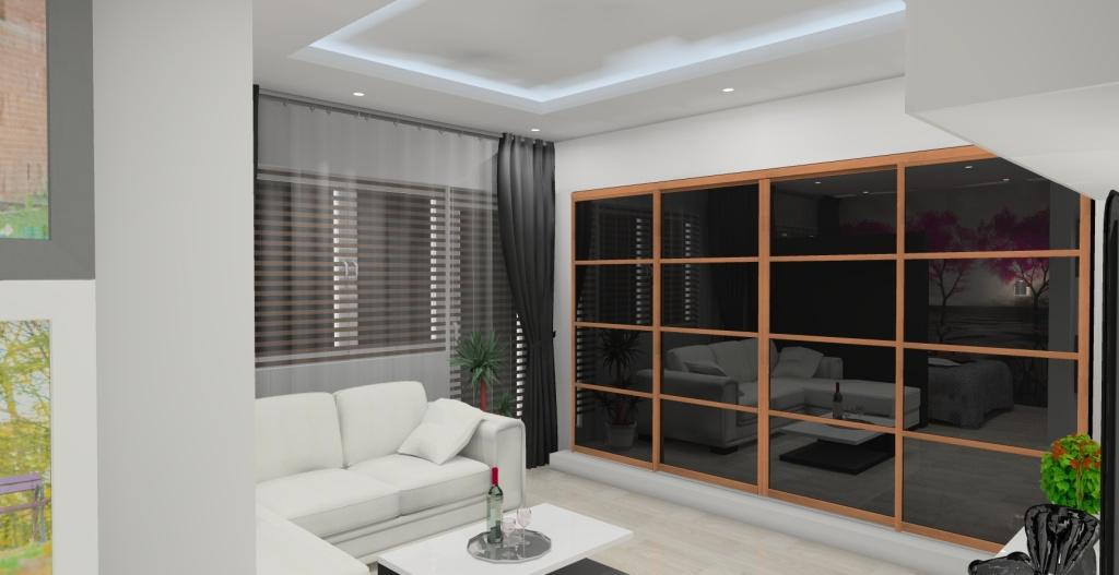 salon w bloku, szafa przesuwna, narożnik, białe ściany, czarne szkło